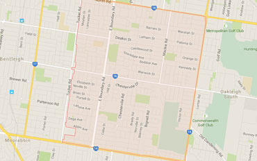 Bentleigh East Regional Outline according to Google Data 2015