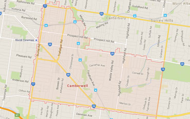 Camberwell Regional Outline according to Google Data 2015