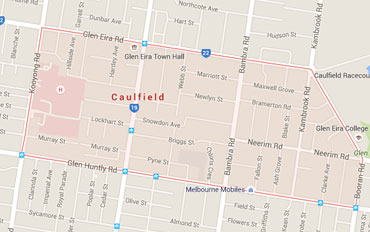 Caulfield Regional Outline according to Google Data 2015