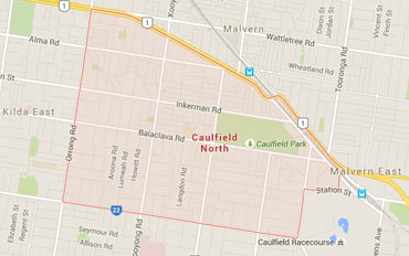 Caulfield North Regional Outline according to Google Data 2015
