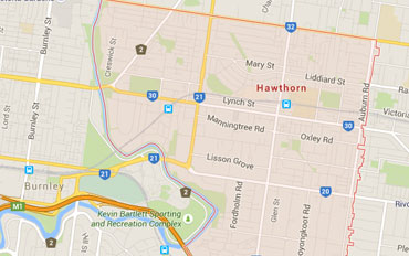 Hawthorn Regional Outline according to Google Data 2015