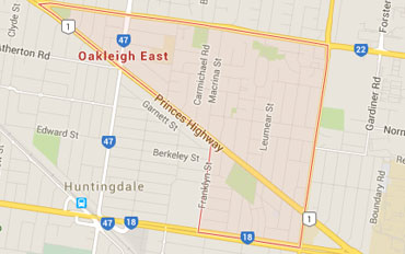 Oakleigh East Regional Outline according to Google Data 2015