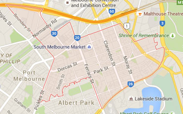 South Melbourne Regional Outline according to Google Data 2015